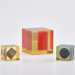 "Three Modernist ""Cubo"" sculptures, two with  floating geometric inclusions"
