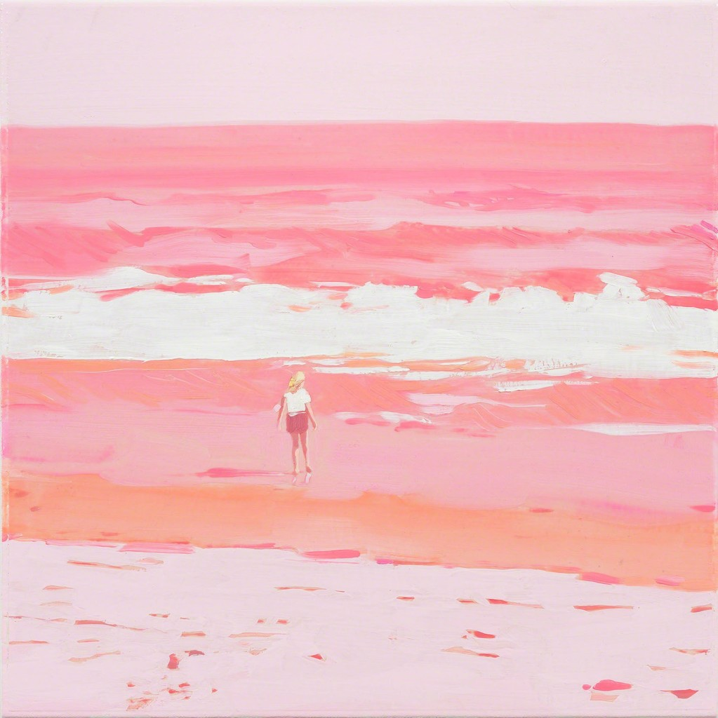 Isca Greenfield-Sanders, Pink Beach, 2018, Mixed Media and Oil on Canvas, 35,5 x 35,5 cm