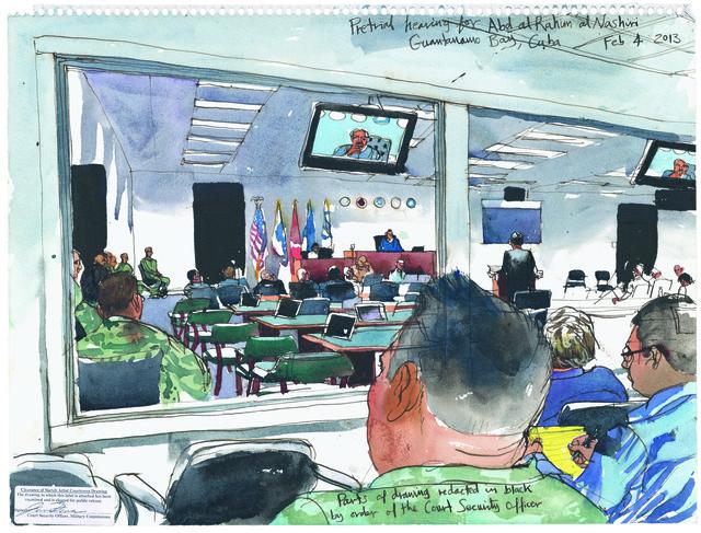 , '2/4/13, Pretrial hearing for Abd al Rahim al Nashiri, Guantanamo Bay, Cuba,' 2013, Postmasters Gallery