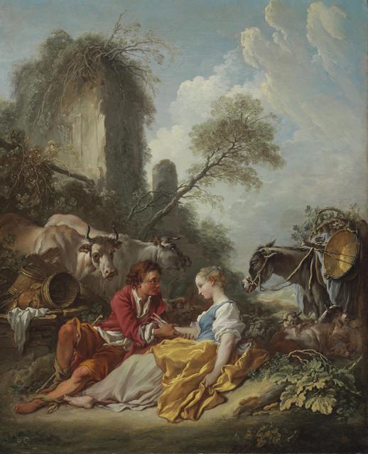 'La Tendre Pastorale': A pastoral landscape with a shepherd and shepherdess