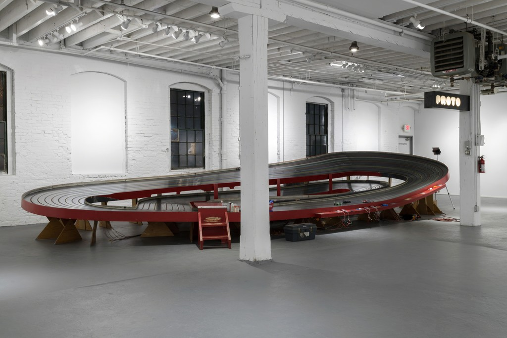The slot car track installed at PROTO Gallery for NO FLEX RACE U.