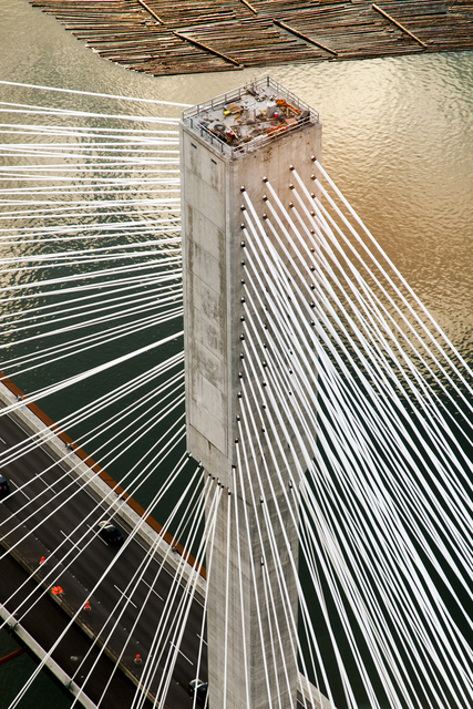 , 'Port Mann Bridge: Ariel View of North Tower,' 2011, Newzones