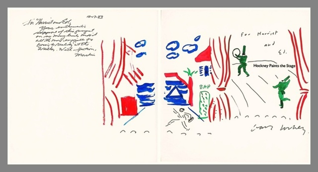 , 'Original Painting, Hockney Paints the Stage (dedicated by Hockney to Walker Art Museum Trustees with additional inscription by Martin Friedman),' 1983, Alpha 137 Gallery