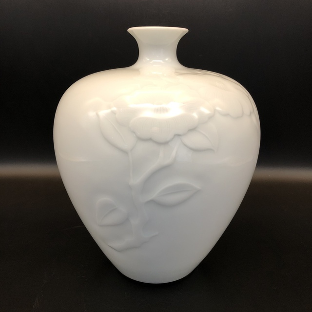, 'White  Arita Japanese Vase with Carved Flowers Pattern,' ca. 2009, Romang Antiques Gallery - Asian Art