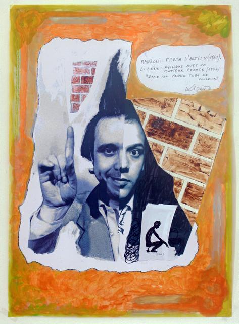 , 'Sculpture génétique, 1971, Manzoni croisé Lizène, en remake 2015. Mabzoni, merda d'artista (1961) – Lizène, peindre avec sa matière fécale (1977). Être son propre tube de couleur.  ,' 2015, Nadja Vilenne