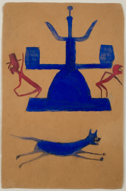 , 'Untitled, (Blue and Red Construction with Running Dog and Figures),' ca. 1939-42, Ricco/Maresca Gallery