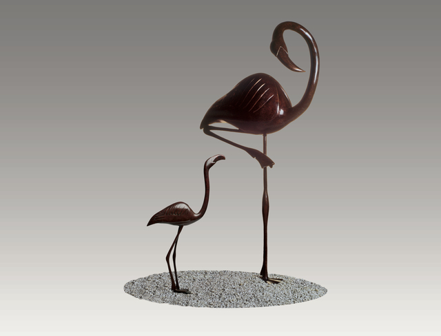 , 'Young Flamingo with Flamingo,' , Robert Hooke Sculpture Gallery