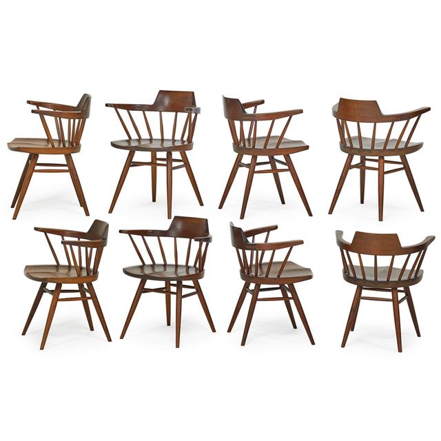 George Nakashima, 'Set Of Eight Captain's Chairs, New Hope, PA', 1964, Rago/Wright