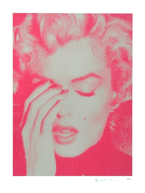 Russell Young, 'Marilyn Crying (Cream and Suicide Pink)', 2011, Print, Enamel and diamond dust screen print on Somerset paper., Addicted Art Gallery