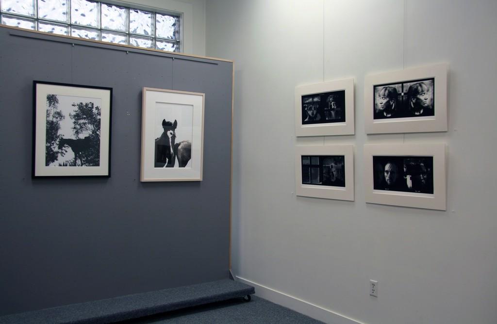 Grey wall: Work by Carolyn Krieg White wall: Work by Marsha Burns