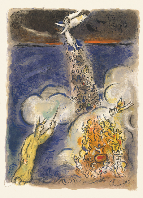 Marc Chagall, 'Moses calls the Waters down on the Egyptian Army', 1966, Print, Original lithograph in colors, Galerie Fetzer