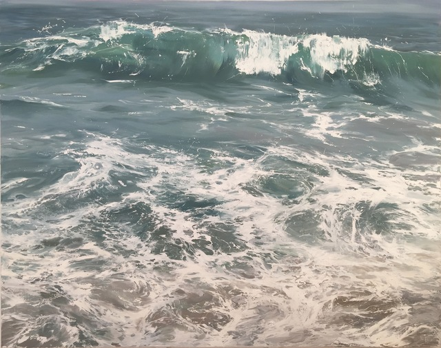", '""Wave on Shore"" oil painting of a wave crashing on the shore in light blues and greens,' 2010-2017, Eisenhauer Gallery"