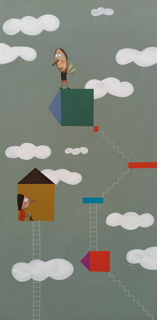 Moisés Yagües, 'Amor de escalera', 2021, Painting, Mixed media on board, Galería Marita Segovia