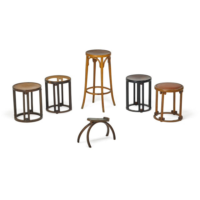 Josef Hoffmann, 'J. & J. Kohn, Five Stools (Most By J. & J. Kohn) And One Shoe Stand, Austria', ca. 1905, Design/Decorative Art, Beech, Enameled and Stained Beech, Leather, Wicker, Brass, Rago/Wright