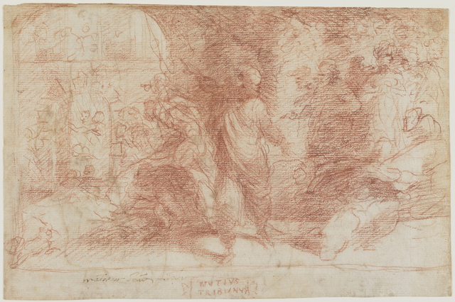 , 'Publius Mutius Condemning His Colleagues to be Burnt (a); Male Figure Study (b),' 1529-1535, Bowdoin College Museum of Art