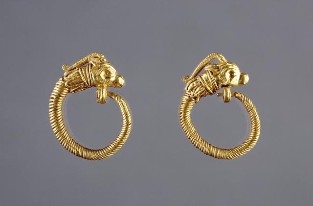 'Hoop Earrings with Antelope Head Finials', 220 -100 BCE, J. Paul Getty Museum