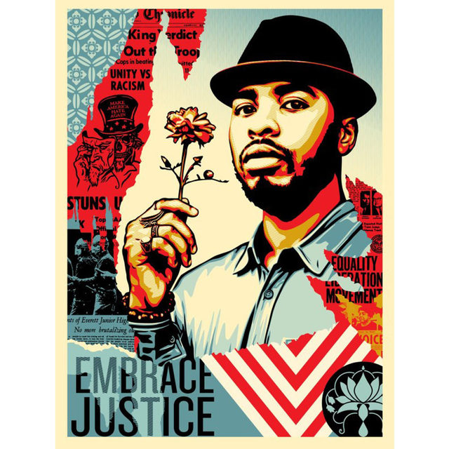Shepard Fairey, 'Embrace Justice', 2017, New Union Gallery