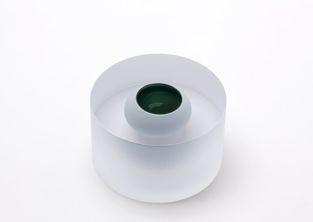 , 'Mat clear cylinder with floating pigeongrey bowl,' 2014, Galerie Maria Wettergren
