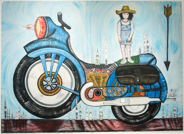 , 'Indian, Motorcycle, and Bruce Lee Girl,' 2014, Clark Gallery
