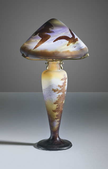 Galle, 'A 'Landscape and Birds' table lamp', circa 1910, Design/Decorative Art, Cameo glass, overlaid and acid-etched, Christie's