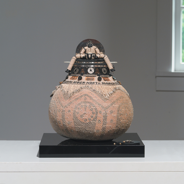 Judy Mulford, 'It's A Small World, Isn't It', 2000, Sculpture, Gourd, waxed linen, fine silver, antique buttons, Japanese coins, beads and antique necklace from Kyoto flea market, pearls from Komodo Island, photo transfers, pounded tin can lids, Peruvian beads, paper, dye, paint; knotting and looping., browngrotta arts