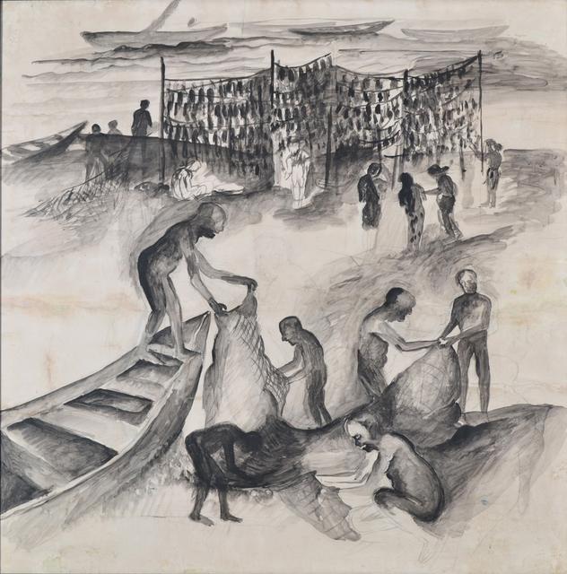 , 'Fishermen,' 1989, Swaraj Art Archive
