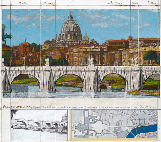 Christo, 'Ponte Sant' Angelo, wrapped (project for Rome)', 2011, Hamilton-Selway Fine Art