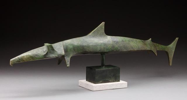 """, '""""Garfish"""" Stylized Angular Sculpture of Predatory Pelagic Fish with Green Patina,' 2010-2019, Eisenhauer Gallery"""