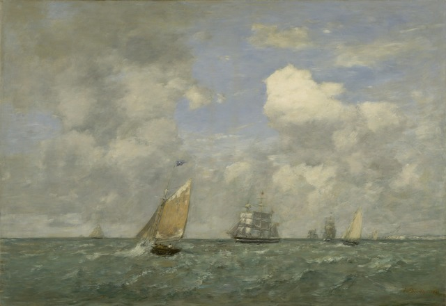 Eugène Boudin, 'Ships and Sailing Boats Leaving Le Havre', 1887, National Gallery of Art, Washington, D.C.