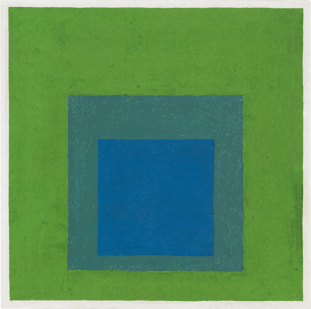 , 'Squares: Blue and Cobalt Green in Cadmium Green,' 1958, Ludorff