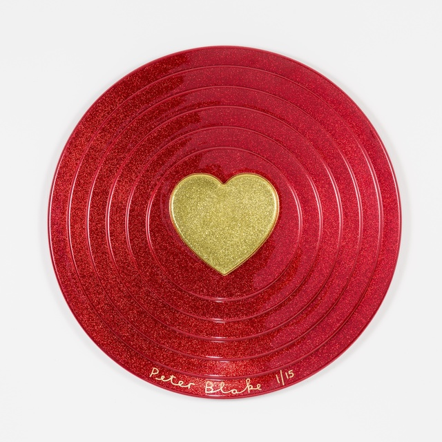 , 'Gold heart on red (metal flake),' 2017, Paul Stolper Gallery