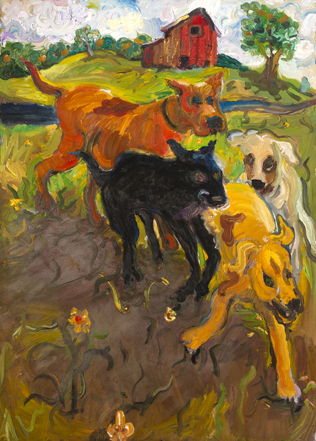 Chuck Connelly, 'Four Running Dogs ', 1993, Painting, Oil on Canvas, InLiquid