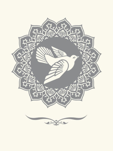 Shepard Fairey, 'PEACE DOVE silver LETTERPRESS PRINT', 2013, Rudolf Budja Gallery