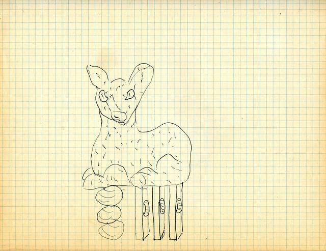 Eric Bainbridge, 'Study for Handle (Bambi From The Rear)', 1986, Drawing, Collage or other Work on Paper, Ink on lined paper, WORKPLACE