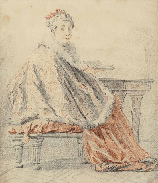 Jean-Baptiste Le Prince, 'A lady seated at a table', Drawing, Collage or other Work on Paper, Pencil, black and red chalk, black ink framing lines, Christie's Old Masters