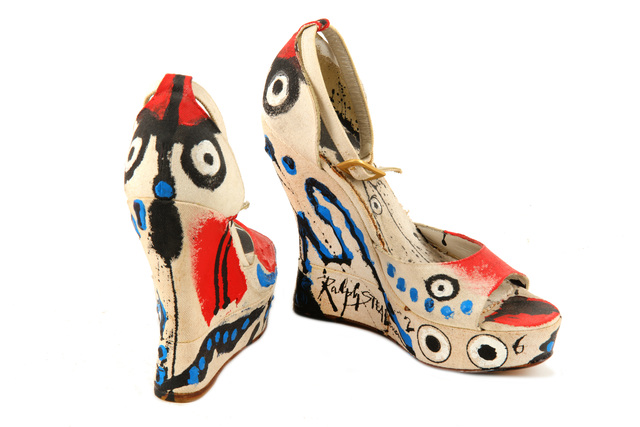Ralph Steadman, 'The Eyes Have It, (a pair of hand painted shoes', Painting, Acrylic on linen held in a purpose made Perspex box, Chiswick Auctions