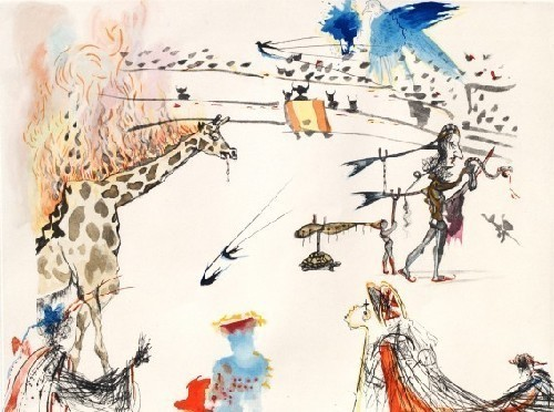 Salvador Dalí, 'The Burning Giraffe from the Tauromachie Suite', 1966-1967, Print, Etching with hand color, New River Fine Art