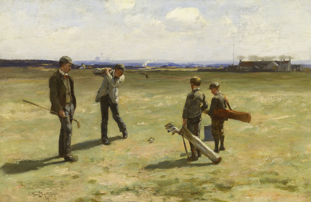 , 'Teeing Off, Musselburgh Old Course Golf Club  and Mrs Forman's pub, East Lothian,' 1891, MacConnal-Mason Gallery