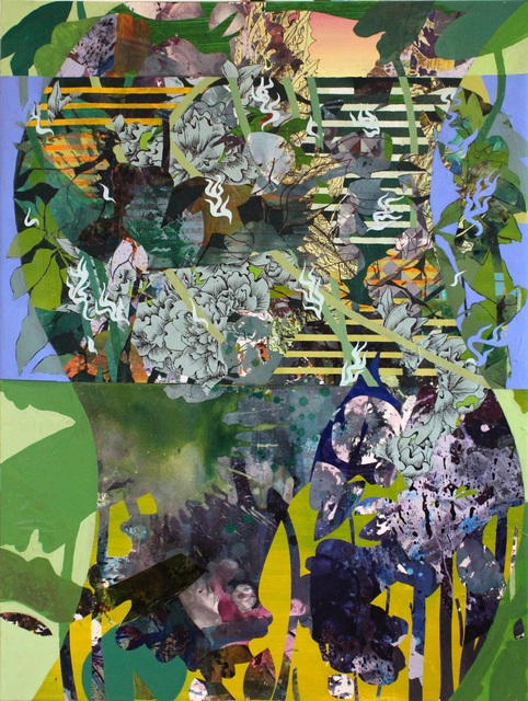 Katherine Tzu-Lan Mann, 'Leaves into Fish', 2019, Painting, Acrylic, vinyl collage and sumi ink on stretched paper over canvas, Morton Fine Art