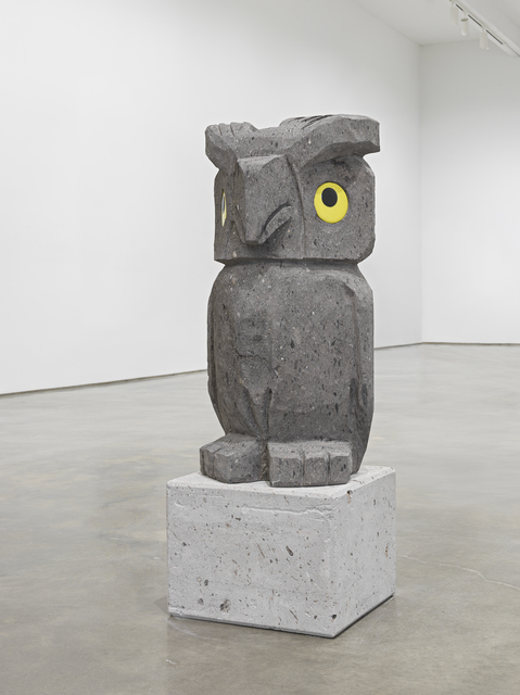Olaf Breuning, 'Sad and worried animals / Owl', 2020, Sculpture, American black stone, ceramic eyes, Metro Pictures