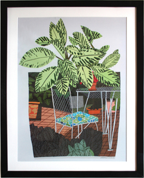 Landscape Pot with Flower Chair poster