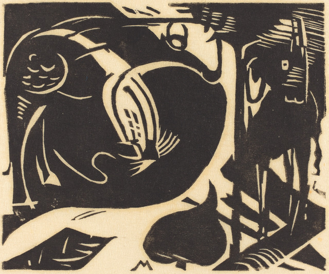 Franz Marc, 'Two Mythical Animals (Zwei Fabeltiere)', 1914, National Gallery of Art, Washington, D.C.