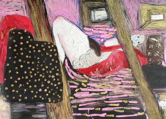 , 'Self portrait in bed calling home,' 2017, Israeli Art In Los Angeles