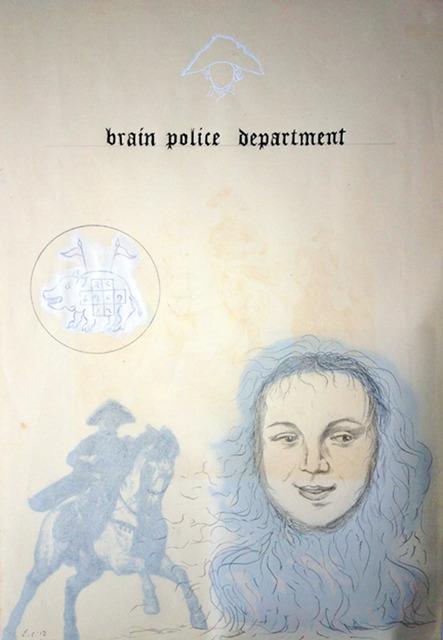 Enrique Chagoya, 'Ghostly Meditations (brain police department)', 2012, Lisa Sette Gallery