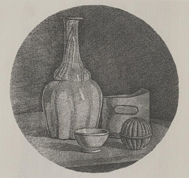 , 'Grande natura morta circolare con bottiglia e tre oggetti,' 1946, Galleria d'Arte Maggiore G.A.M.