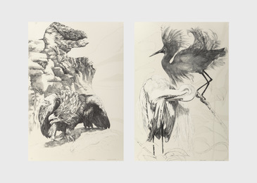 Ellen Lanyon, 'Eagle Beak and Black Egret (two works),' 1985, Heritage Auctions: Holiday Prints & Multiples Sale