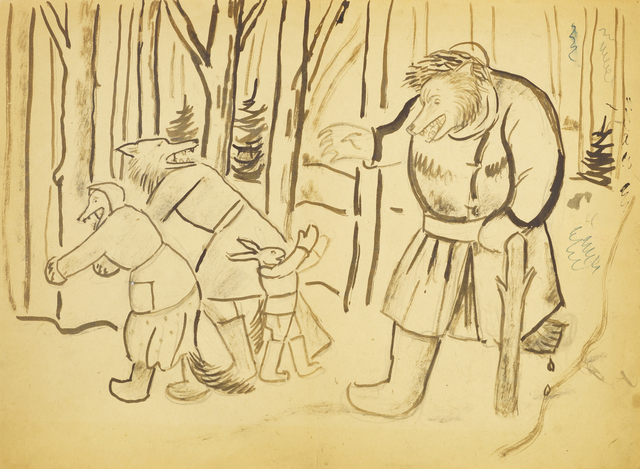 Marie Vorobieff Marevna, 'Bears and a rabbit in a wintry wood', Roseberys