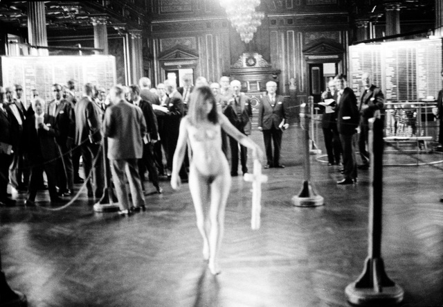 , 'Photo from the action The Expulsion from the Temple / The Female Christ at The Royal Stock Exchange in Copenhagen 29 May 1969,' 1969, Statens Museum for Kunst