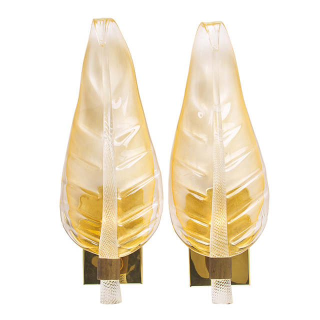 Barovier & Toso, 'Pair of large leaf sconces, Murano, Italy', Rago