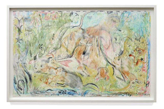 Cecily Brown, 'Untitled (The Calls of the Hunting Hom)', 2019, Print, Monotype with watercolour, watercolour crayon on lanaquarelle paper, DELAHUNTY